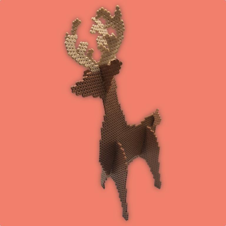 3d Reindeer made with NABBI ironing beads
