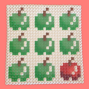Green and red apple bead pattern with white background