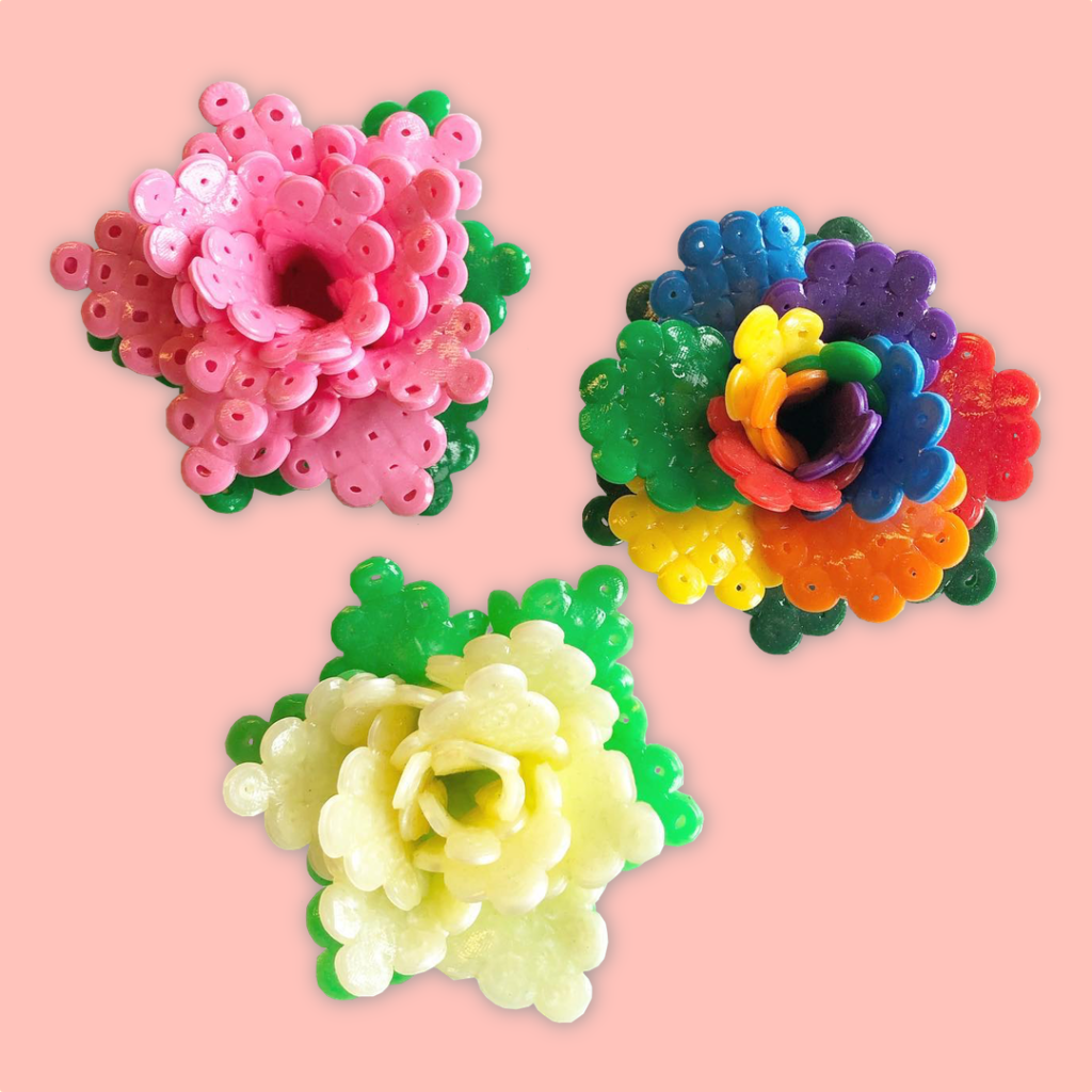 Colorful flowers made from hard-melted ironing beads