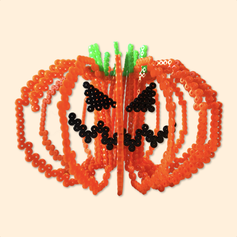Halloween pumpkin made with fuse beads in 3D