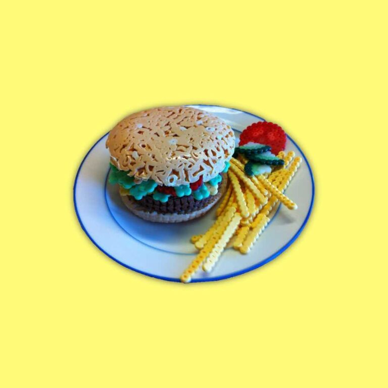 Burger with French fries made of hard melted ironing beads