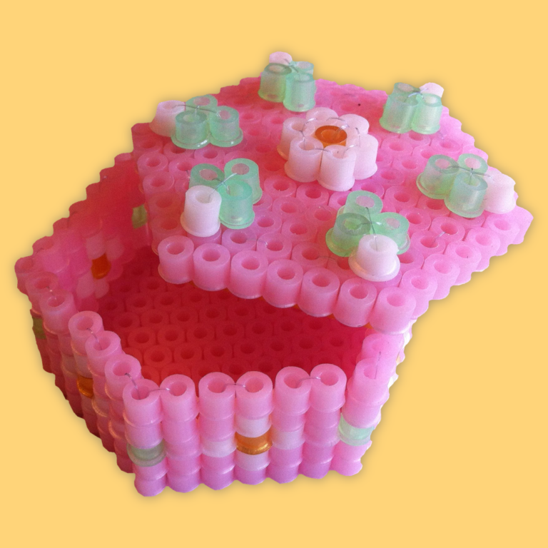 Pink box made of beads